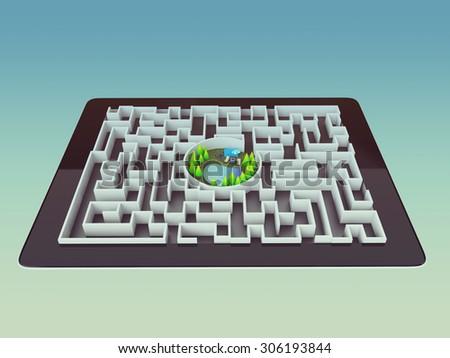 Maze Strategy Success Solution Determination Direction Concept, art - stock photo