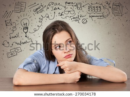 Maze. Thinking. Girl solving a problem. - stock photo