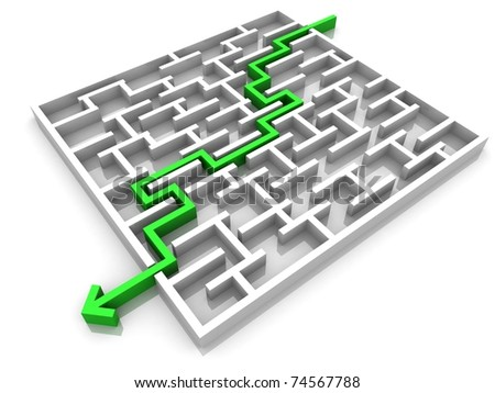 maze through which passes the way the arrow