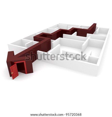 maze through which the needle is inside the door is open - stock photo