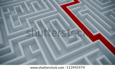 Maze with a red path to solution - stock photo