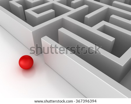 Maze with Sphere at Entrance - High Quality 3D Render - stock photo
