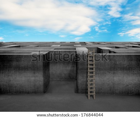 Maze with wooden ladder, cloud and blue sky - stock photo
