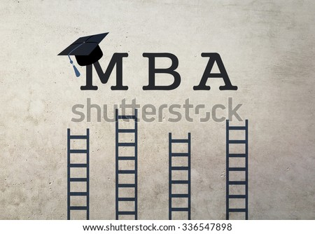 Mba concept. Graduation hat and ladders leading to success on grunge background. - stock photo