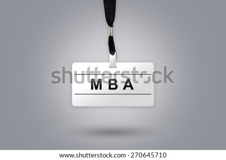 MBA or Master of Business Administration on badge with grey radial gradient background - stock photo