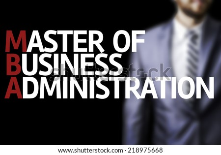 MBA written on a board with a business man on background - stock photo