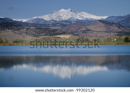 McCall Reservoir is in Boulder County, Colorado the Hygiene Area. A beautiful clear blue sky day with with low clouds and a reflection of the Twin Peaks Mt Meeker  and Longs Peak. - stock photo