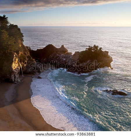 McWay Waterfall at sunset in Big Sur, California - stock photo