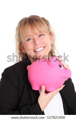 Me and my piggy bank, cute woman holding a piggy bank. White background.