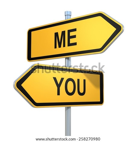 me and you road signs pointing in the different directions - stock photo