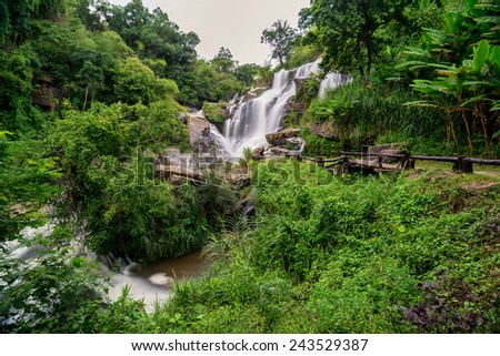 mea klang waterfall is a beautiful waterfall in chiang mai,Thailand