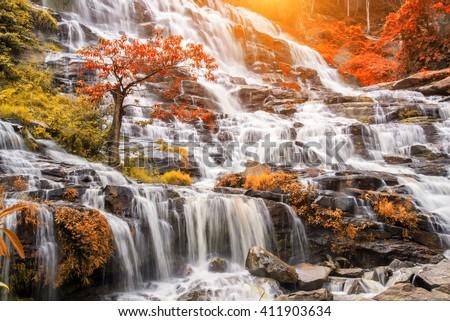 mea ya waterfall is a beautiful waterfall in chiang mai , thailand. - stock photo