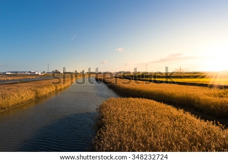 Meadow and river, landscape of autumn sunset time. - stock photo