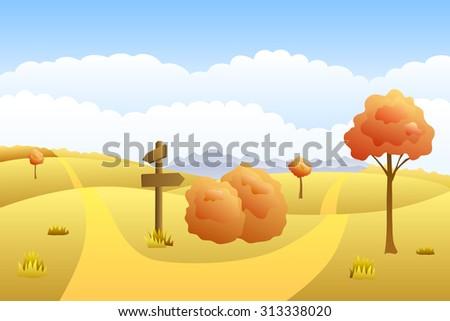 Meadow autumn landscape day road way mark illustration  - stock photo
