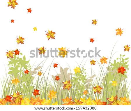 Meadow background with maple leaves.