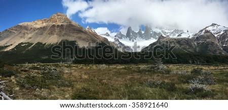 Meadow below Fitz Roy in Argentina - stock photo