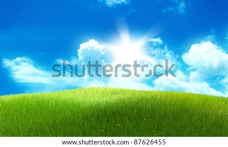 Meadow field image with clouds and sun in the background - stock photo
