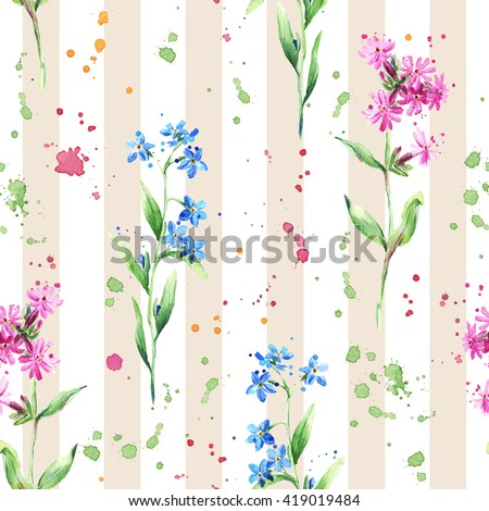 Meadow flowers, grass, herbs. Floral seamless pattern on striped background - stock photo