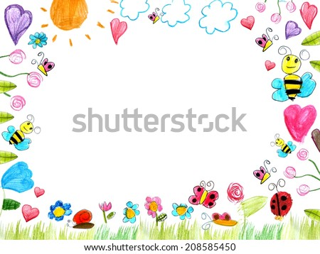 meadow frame child drawings background isolated on white illustration - stock photo