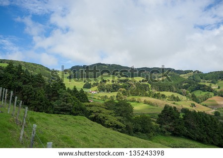Meadow landscape in the highlands of inland Costa Rica - stock photo