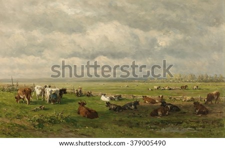 Meadow Landscape with Cattle, by Willem Roelofs 1st, c. 1880, Dutch painting, oil on canvas. Farmer milking cows in the field on the flat landscape. A women stands with a yoke and pails to carry milk - stock photo