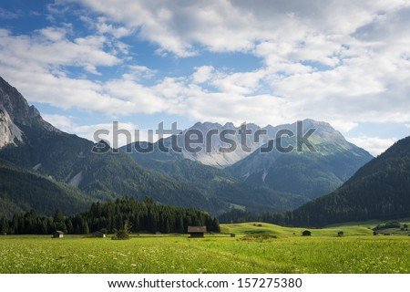 meadow landscape with mountains and wooden chalets - stock photo