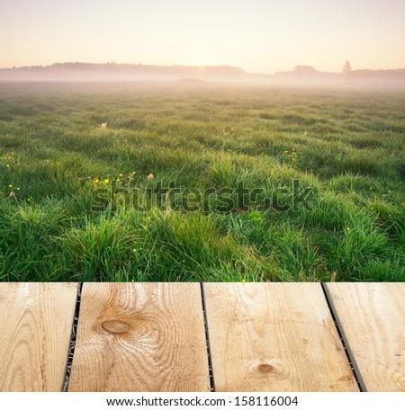 meadow sunrise and wood floor - stock photo