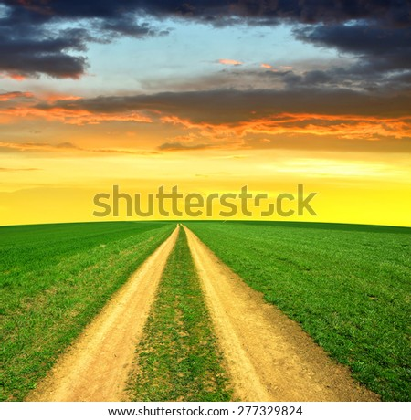 Meadow trail at sunset - stock photo