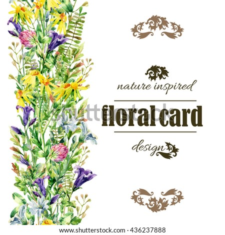 Meadow wildflowers background. Watercolor wild flowers vertical card. Bell flower, clover, daisy, weeds and meadow herbs. Watercolor wild field path. Hand painted floral illustration - stock photo