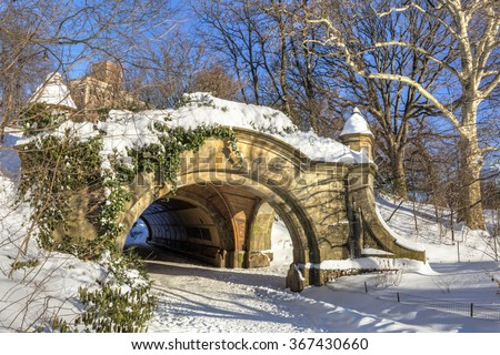Meadowport Arch stone double arch and tunnel the morning after the blizzard of 2016 in Prospect Park, Brooklyn, New York.