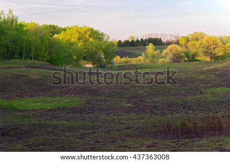 meadows trails and forest in spring at battle creek regional park of saint paul minnesota - stock photo