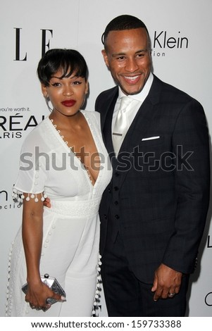 "Meagan Good and DeVon Franklin at the Elle 20th Annual ""Women In Hollywood"" Event, Four Seasons Hotel, Beverly Hills, CA 10-21-13 - stock photo"