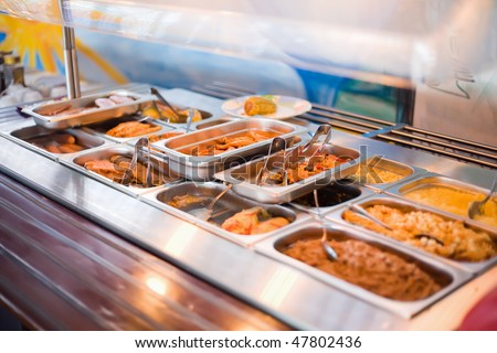 meal in lunch counter at public catering restaurant - stock photo