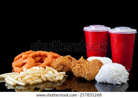 Meal Package Chicken Onion Ring French Fries - stock photo
