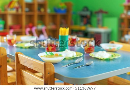 Meal time in kindergarten.