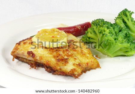 meal with barramundi - stock photo