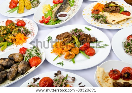 Meals served on a party table - stock photo