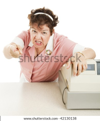 Mean, angry cashier in a school lunchroom or cafeteria.  White background. - stock photo