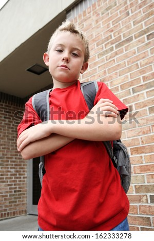 Mean boy - stock photo