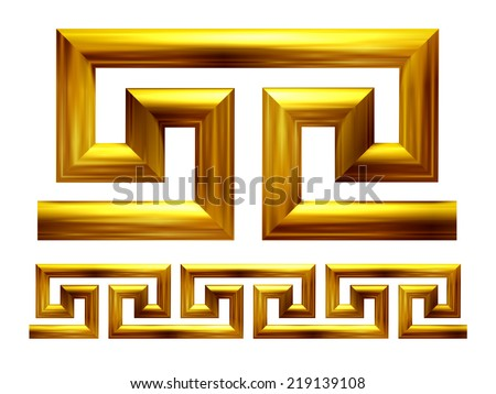 Meander in gold, ornamental Element for a frieze, border or frame - stock photo