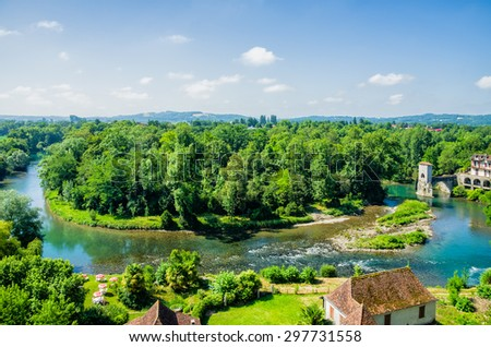 Meander in the Gave d'Oloron river - stock photo