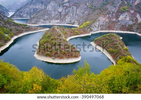Meander of the Uvac river, Serbia  - stock photo