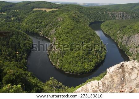 Meander Vltava River - stock photo
