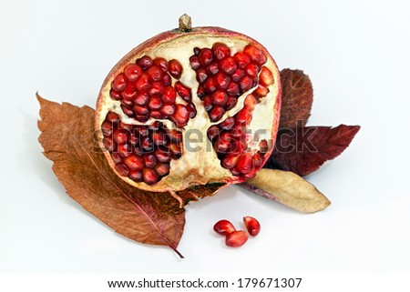 Means pomegranate photographed in the studio with a garnish of dried leaves