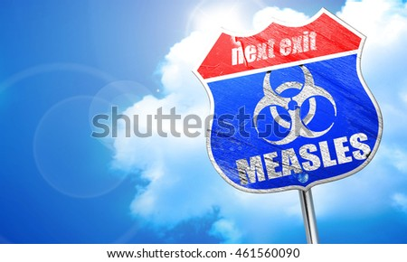 Measles concept background, 3D rendering, blue street sign
