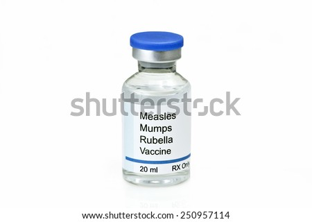 Measles, mumps, rubella, virus vaccine on white background.   Label is fictitious, and any resemblance to any actual product is purely coincidental. - stock photo