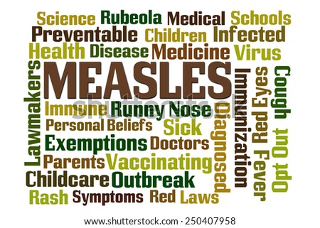 Measles word cloud on white background - stock photo