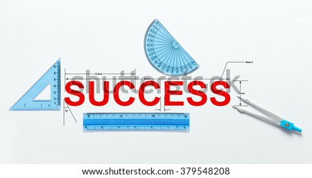 Measure of success concept using geometry set - stock photo