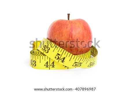 Measure tape and apple. Dieting concept