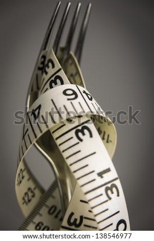 Measure Tape on Fork/a tape measure wrapped around a fork